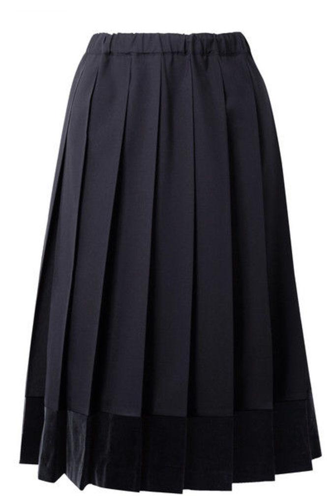 Comme des Garçons GIRL - Pleated Velvet-trimmed Wool Midi Skirt - Midnight blue