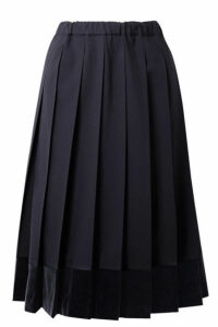 Comme des Garçons GIRL - Pleated Velvet-trimmed Wool Midi Skirt - Midnight blue