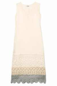 Jil Sander - Crochet-paneled Crepe De Chine Midi Dress - Off-white