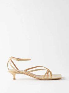Halpern - Asymmetric Draped Satin Bustier Top - Womens - Yellow