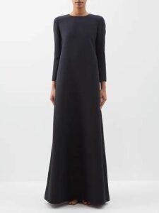 Dolce & Gabbana - Polka Dot Print Tiered Silk Organza Gown - Womens - Black Gold