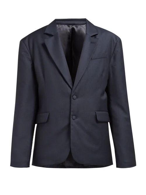 Martine Rose - Small Check Padded Wool Blazer - Womens - Navy