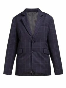 Martine Rose - Big Check Padded Wool Blazer - Womens - Navy