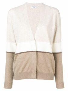 Brunello Cucinelli colour-block fitted cardigan - Neutrals