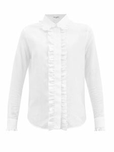 Luisa Beccaria - Lace Trimmed Broderie Anglaise Cotton Blend Dress - Womens - Blue White