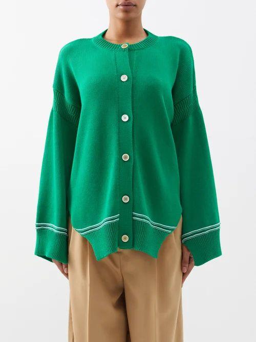Bottega Veneta - Backless Ribbed Knit Cotton Dress - Womens - Red Multi