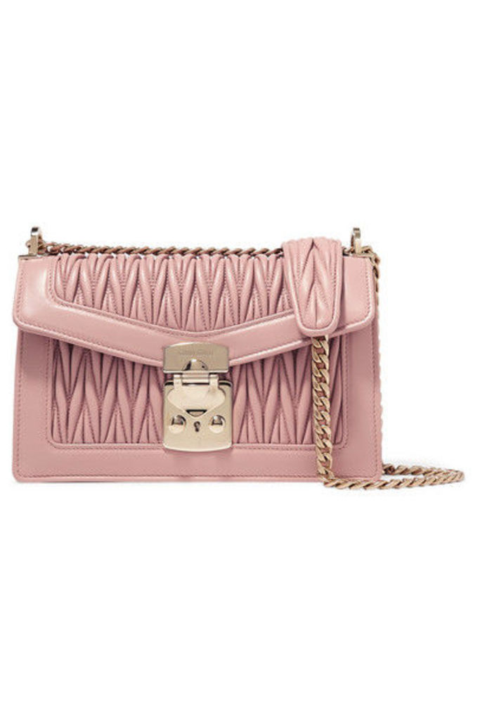 Miu Miu - Confidential Matelassé Leather Shoulder Bag - Blush
