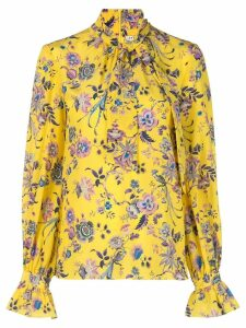 Les Reveries floral tied neck blouse - Yellow
