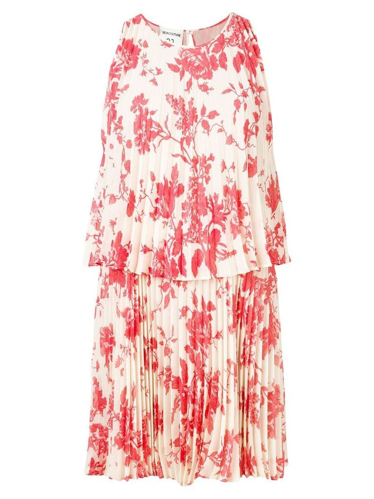 Semicouture floral print pleated dress - Neutrals