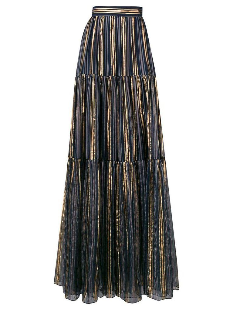 Peter Pilotto lurex striped chiffon skirt - Blue
