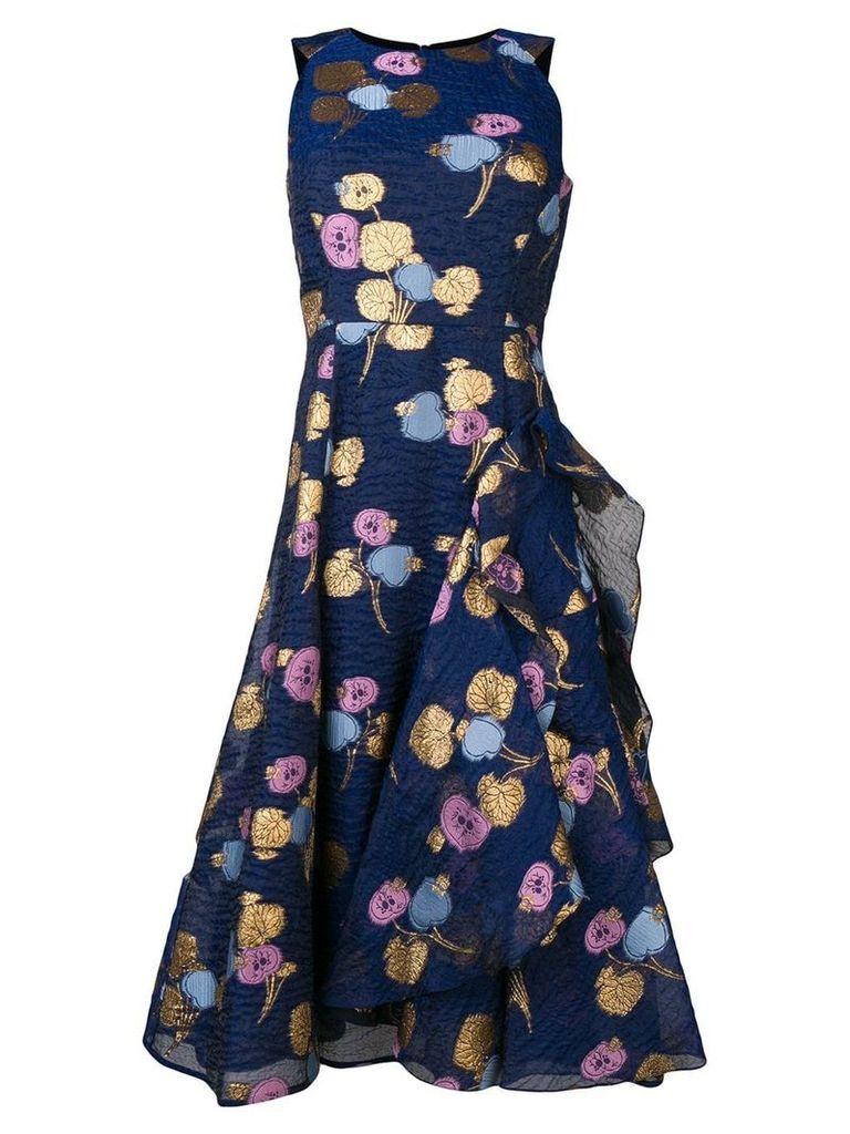 Peter Pilotto leaf jacquard dress - Blue