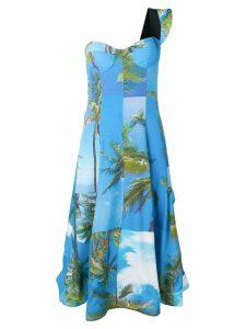 Natasha Zinko printed one shoulder dress - Blue