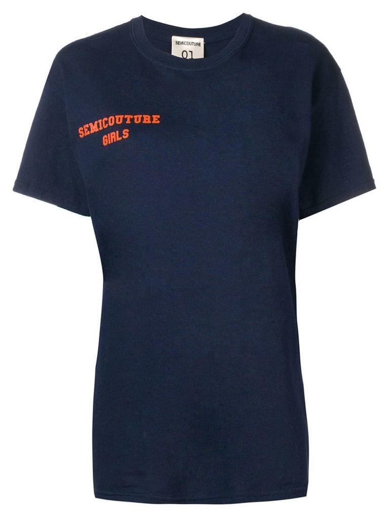 Semicouture logo print T-shirt - Blue
