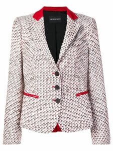 Emporio Armani patterned blazer jacket - White