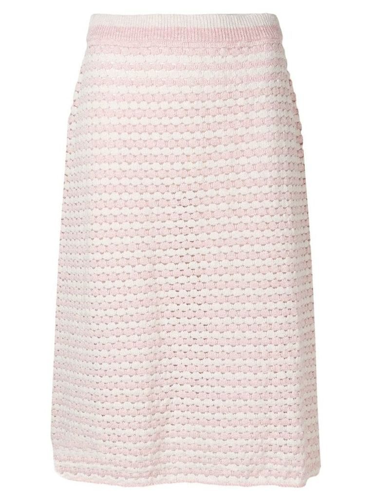 Jil Sander striped crochet skirt - Pink