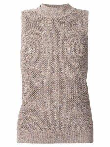 Jil Sander Navy speckled knit turtleneck tank - Brown