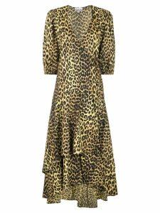 Ganni Minion leopard print wrap dress - Black