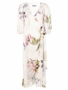 Ganni floral print wrap dress - White