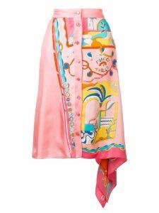 Emilio Pucci La Villa Print Asymmetric Silk Skirt - Pink