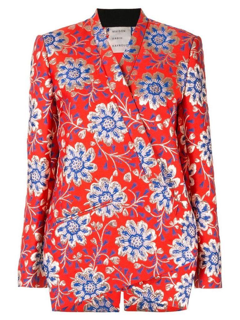 Maison Rabih Kayrouz floral brocade blazer - Red