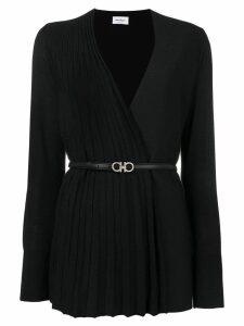 Salvatore Ferragamo pleated panel belted cardigan - Black
