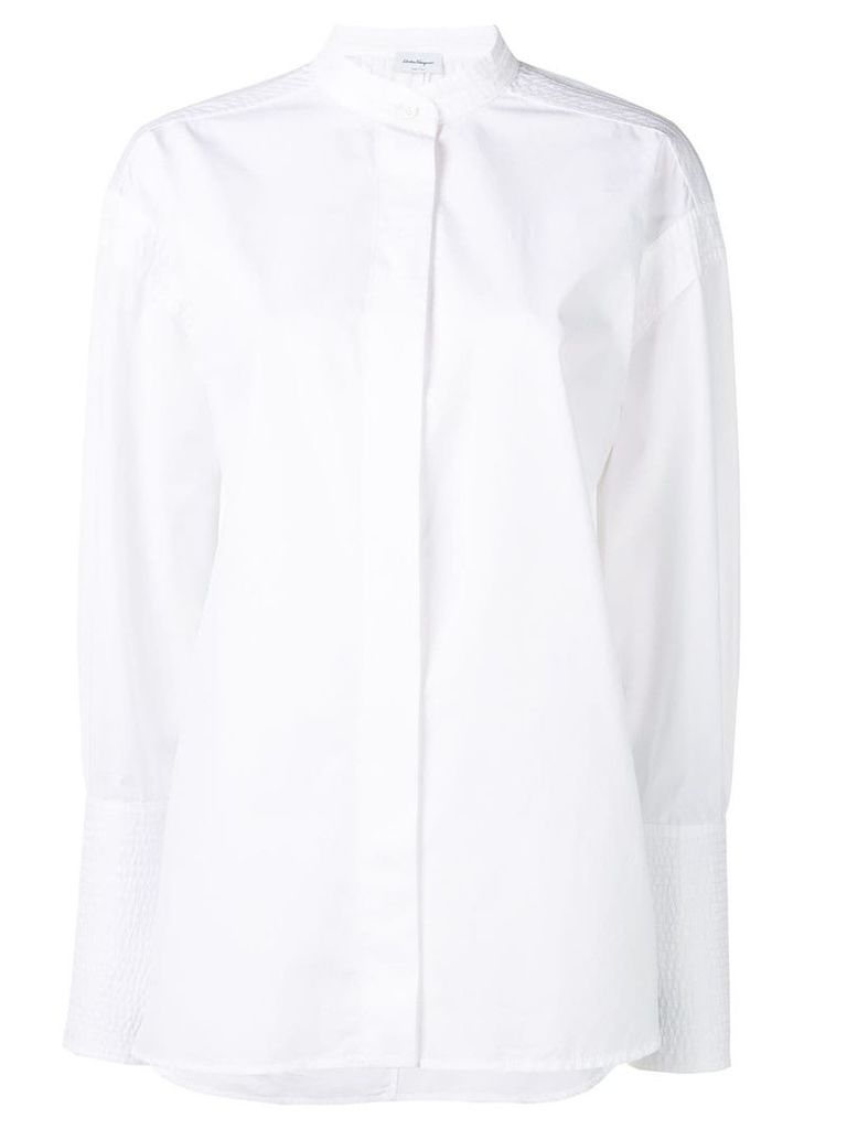 Salvatore Ferragamo band collar shirt - White