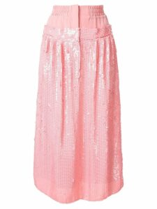Tibi high-waist sequin silk skirt - PINK