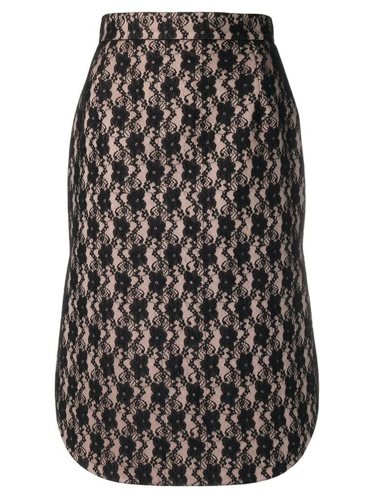Christopher Kane lace bonded satin skirt - Black