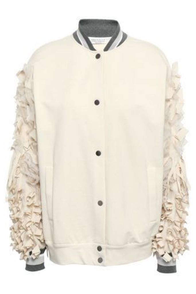 Brunello Cucinelli Woman Appliquéd French Cotton-blend Terry Bomber Jacket Ecru Size M