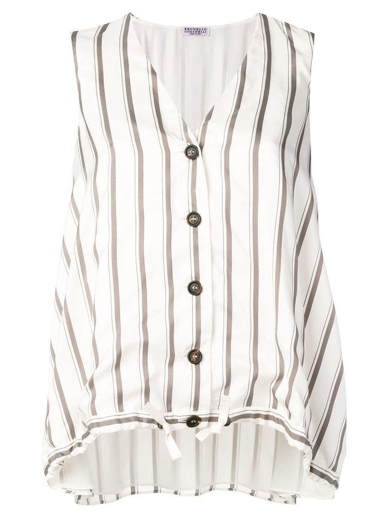 Brunello Cucinelli stripe buttoned top - Neutrals