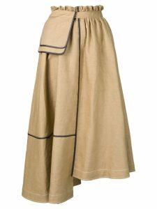 Loewe asymmetric midi skirt - Neutrals