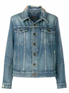 Saint Laurent frayed collar denim jacket - Blue