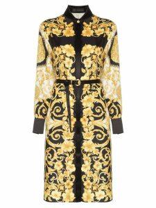 Versace button-down baroque print belted silk midi dress - A7900