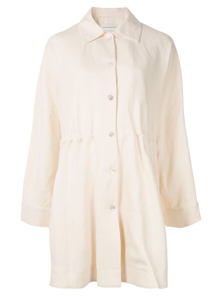 Mansur Gavriel heavy drawstring coat - White