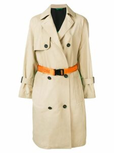 Heron Preston contrast back trench coat - Neutrals