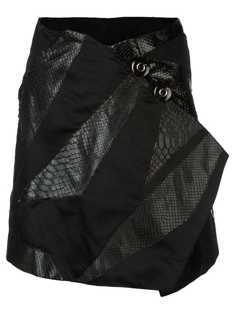 Rubin Singer Origami skirt with python detail - Black
