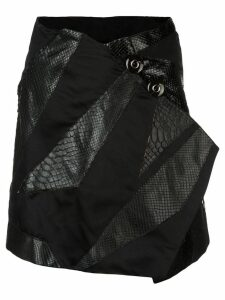 Rubin Singer Origami skirt with python detail - Black