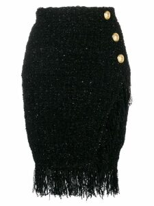 Balmain wrap-around fringed skirt - Black