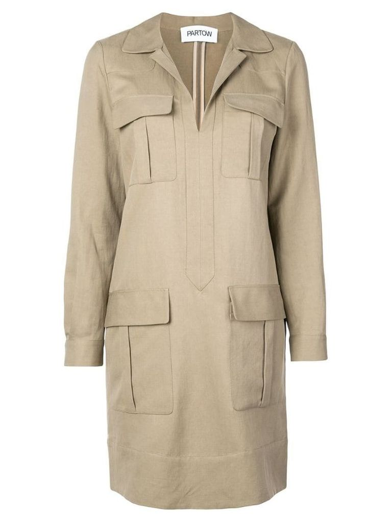 Partow long-sleeved mini dress - Neutrals