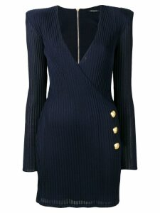 Balmain wrap-around knit dress - Blue
