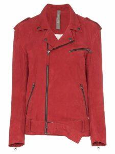 Lot Lthr Ella belted suede biker jacket - Red