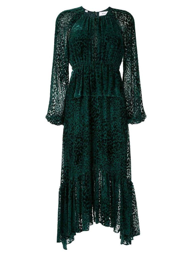 A.L.C. leopard print devoré midi dress - Green