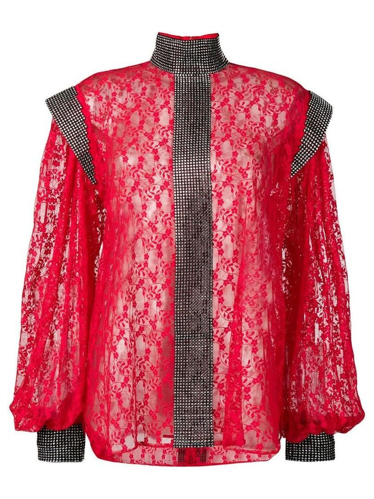 Christopher Kane crystal lace blouse - Red