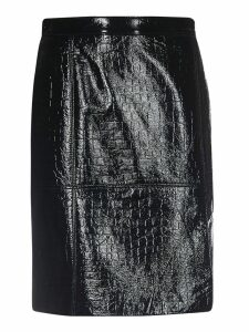 Msgm Crocodile Effect Skirt