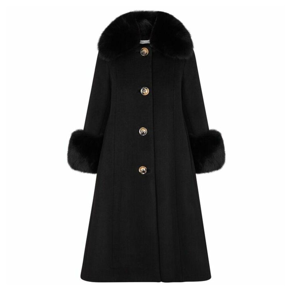 Saks Potts Black Fur-trimmed Wool Coat