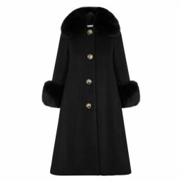 Saks Potts Black Fur-trimmed Wool Coat