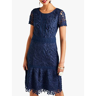 Yumi Guipure Lace Dress, Dark Navy
