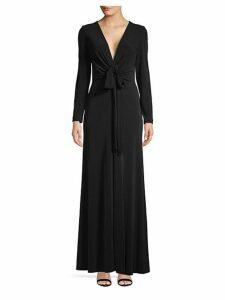 V-Neck Long Sleeve Drape Gown