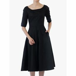 Jolie Moi Scoop Neck Swing Dress, Black