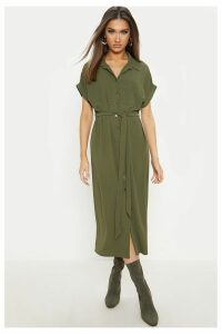 Womens PrettyLittleThing Utility Shirt Dress -  Green